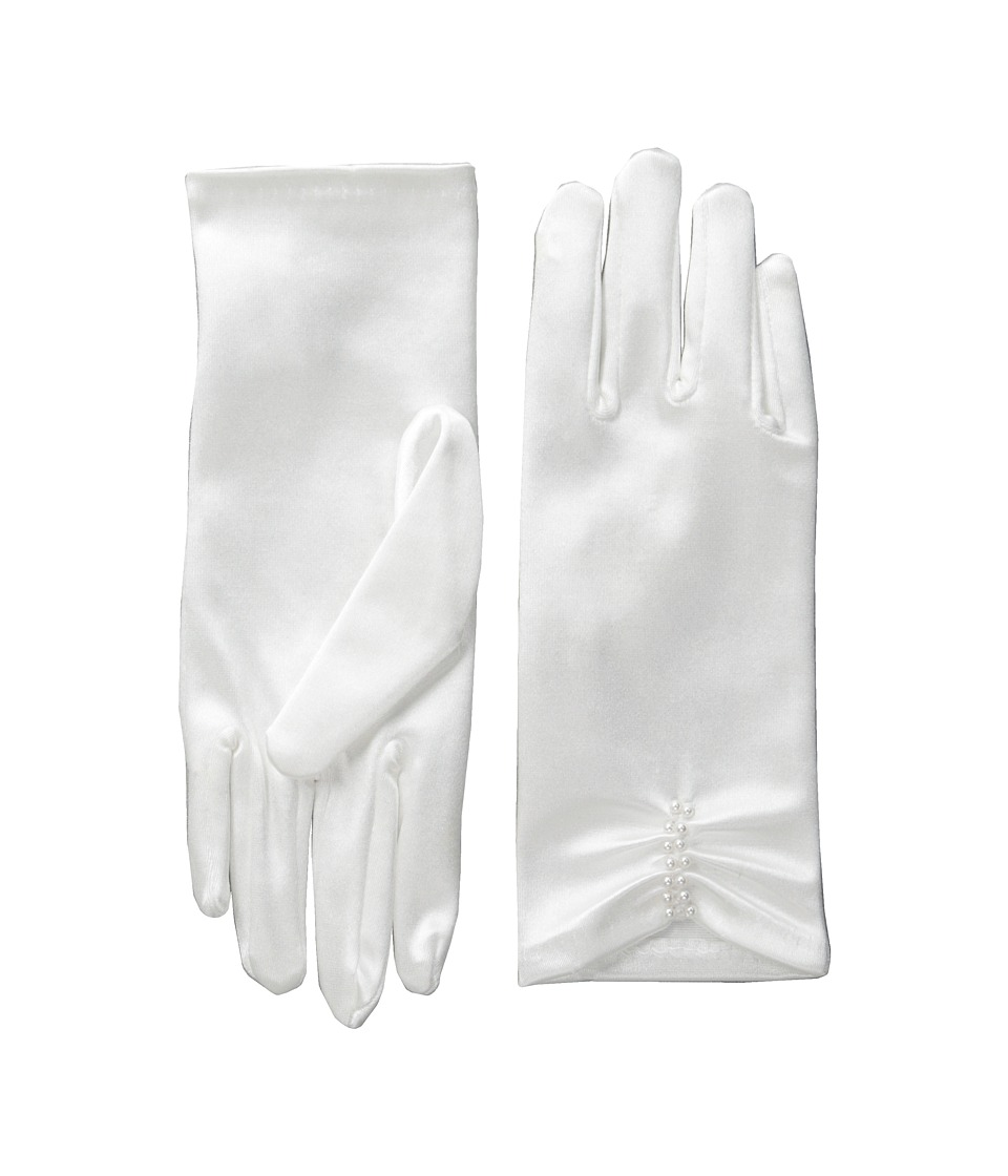 Us Angels - Satin Glove with Ruching (Big Kids) (White) Dress Gloves