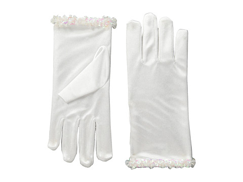 Us Angels - Satin Glove w/ Iridescent Trim (White) Dress Gloves