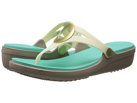 Crocs - Sanrah Wedge Flip-Flop (Oyster/Island Green) Women's Sandals