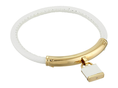Michael Kors - Leather with Foil Logo Padlock Bracelet (Gold/White) Bracelet