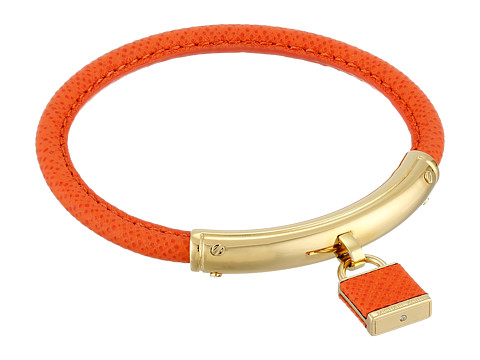 Michael Kors - Leather with Foil Logo Padlock Bracelet (Gold/Orange) Bracelet
