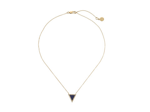 Michael Kors - Semiprecious Pave Lapis Triangle Motif Pendant (Gold) Necklace