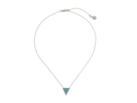 Michael Kors - Semiprecious Pave Turquoise Triangle Motif Pendant (Silver) Necklace