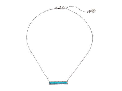 Michael Kors - Semiprecious Pave Turquoise Bar Motif Pendant (Silver) Necklace