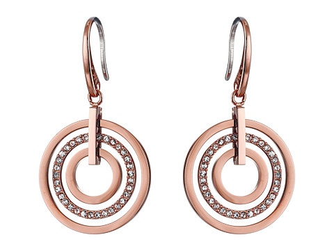 Michael Kors - Pave Small Rings Fishwire Earring (Rose Gold) Earring