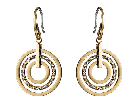 Michael Kors - Pave Small Rings Fishwire Earring (Gold) Earring
