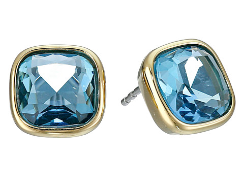 Michael Kors - Botanicals Gold Clear Stone Stud Earring (Gold/Blue) Earring