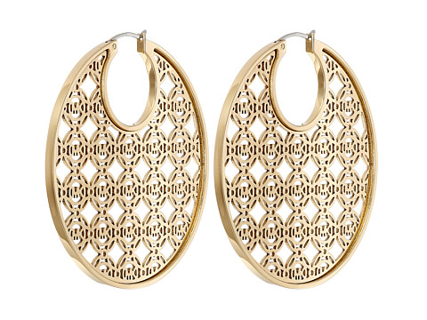 Michael Kors - Monogram with Clear Stones Large Open Hoops (Gold) Earring