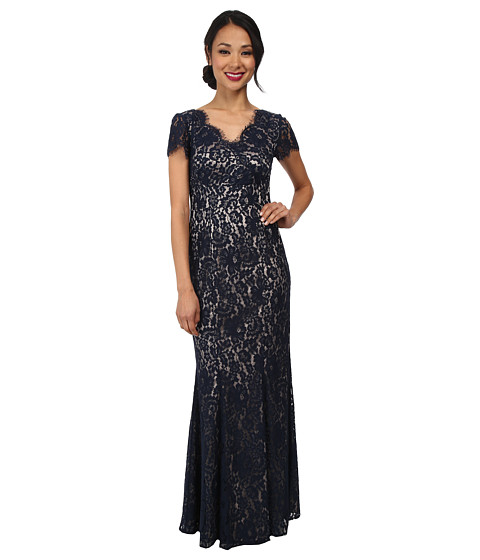 Eliza J - Cap Sleeve V-Neck w/ Inset Waist and Floor Length Skirt (Navy) Women's Dress