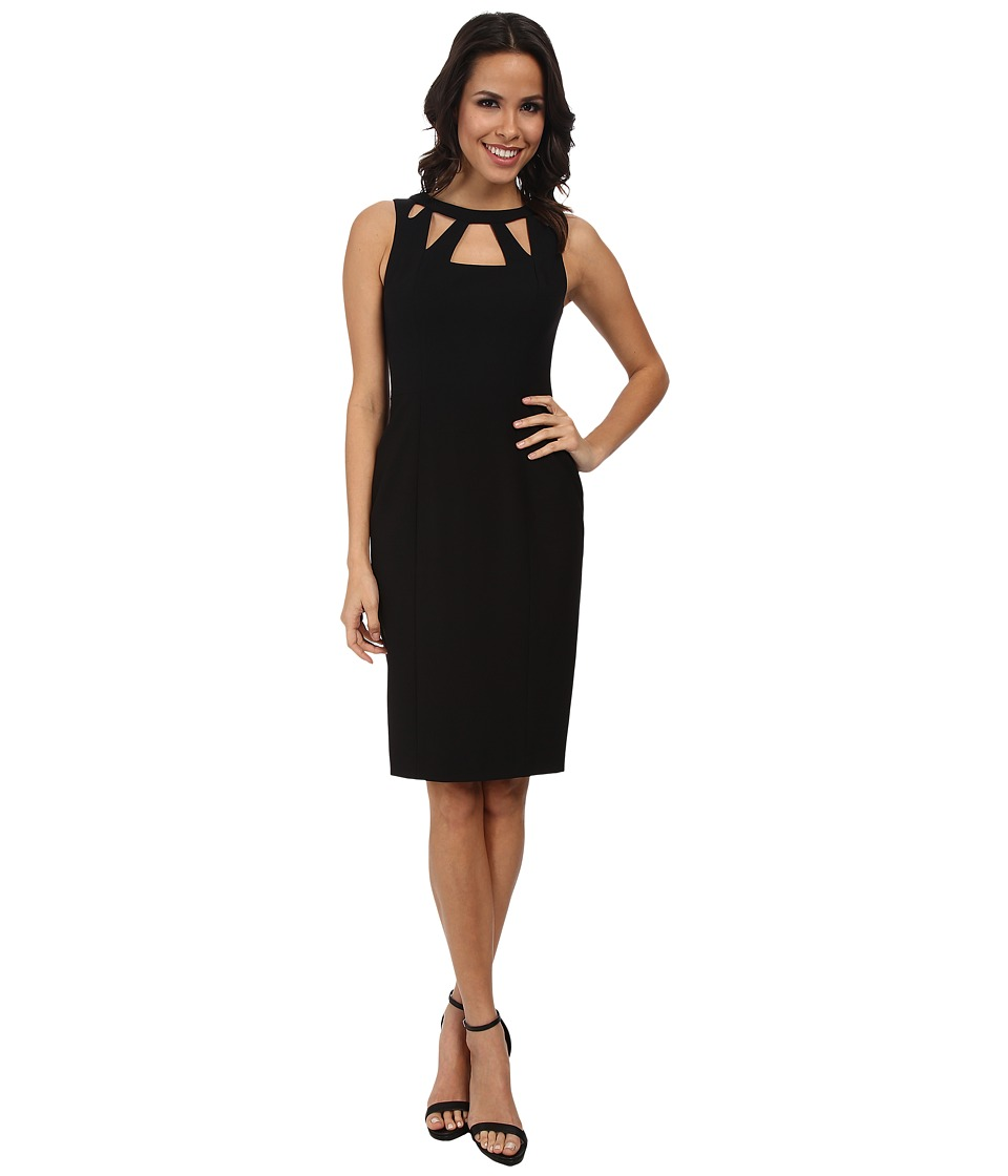 Eliza J - Sleevless Shift w/ Triangle Cutout Neckline (Black) Women's Dress