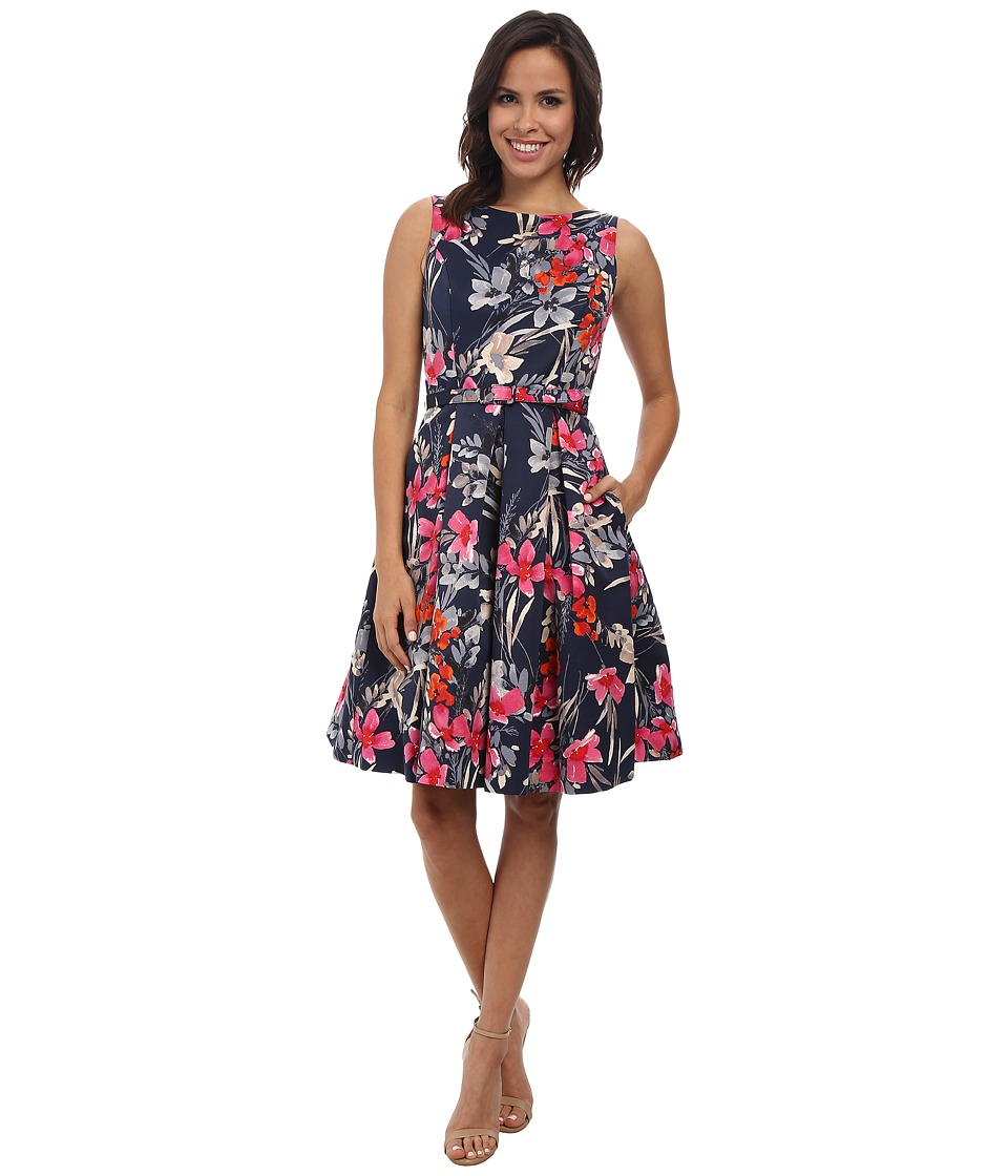 Eliza J - Sleevless Fit and Flare Midi w/ Pleated Skirt (Print) Women's Dress