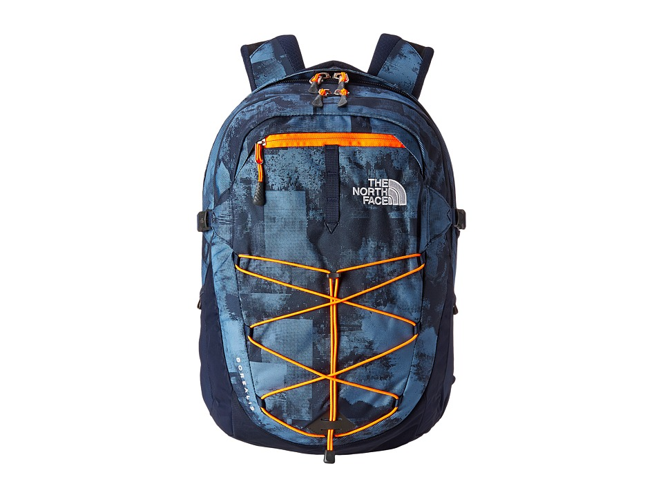 The North Face - Borealis (Cool Blue Texture Block Print/Shocking Orange) Backpack Bags
