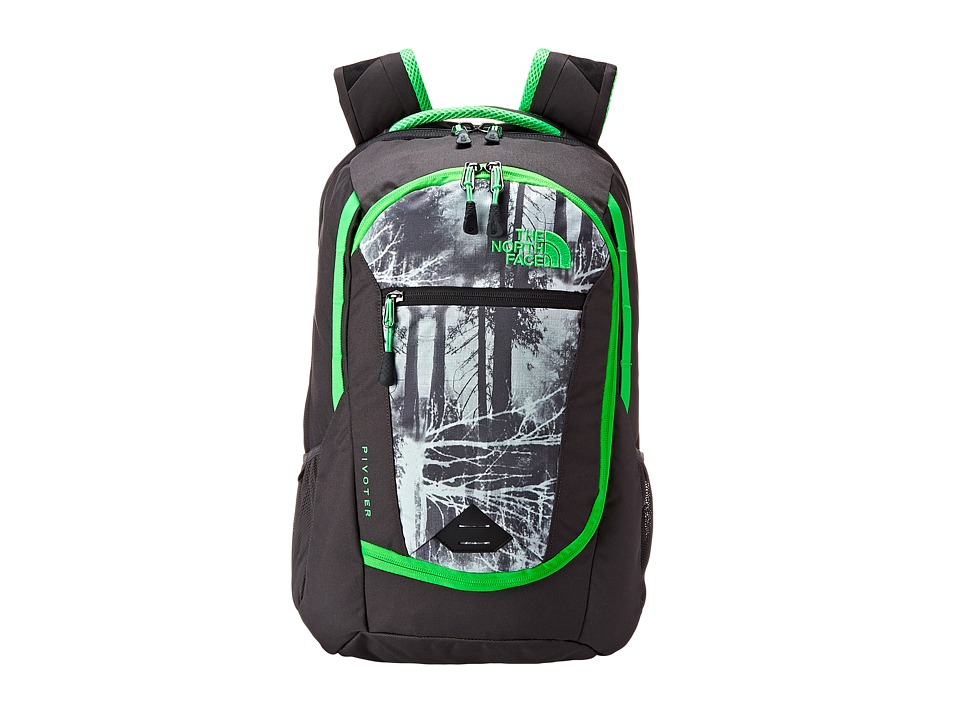 The North Face - Pivoter (Graphite Grey Silhouette Forestscape Print/Krypton Green) Backpack Bags