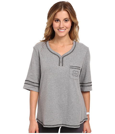 Karen Neuburger - Elbow Sleeve Henley Top (Heather Grey) Women's Pajama