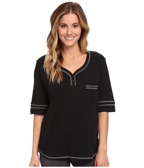 Karen Neuburger - Elbow Sleeve Henley Top (Black) Women