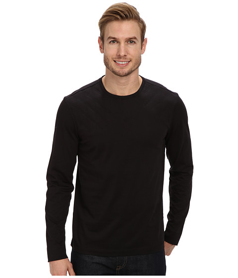 Calvin Klein - Solid Quilted Crew-Neck Sweatshirt (Black) Men's Sweatshirt