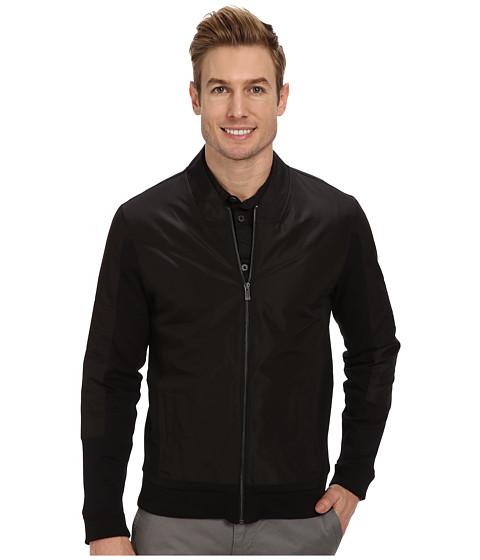 Calvin Klein - Full Zip Solid Ponte with Woven Trim Detail Sweatshirt (Black) Men's Sweatshirt
