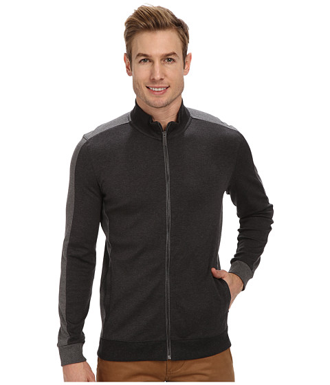 Calvin Klein - Color Blocked Full Zip Sweatshirt (Gunmetal) Men's Sweatshirt