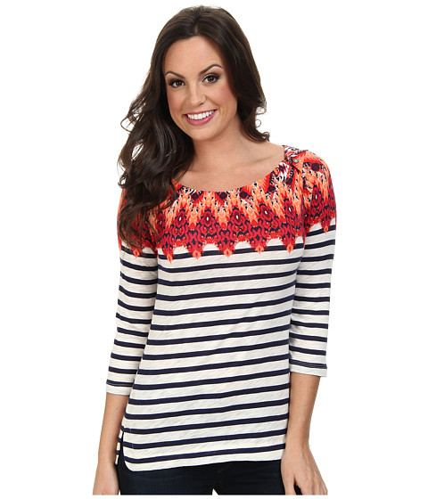 Lucky Brand - Ikat Boatneck Top 7W62013 (Red Multi) Women's Long Sleeve Pullover