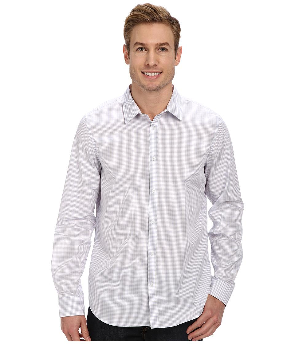 Calvin Klein - Fine Multicheck Dobby Long Sleeve Woven Shirt (White) Men