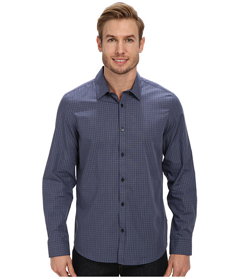 Calvin Klein - Fine Multicheck Dobby Long Sleeve Woven Shirt (Knight Blue) Men's Long Sleeve Pullover