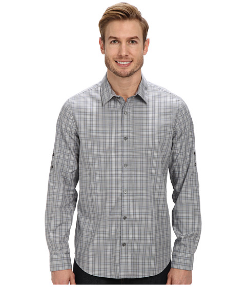 Calvin Klein - End on End Ombre Check Roll-Sleeve Woven Shirt (Battleship) Men's Clothing