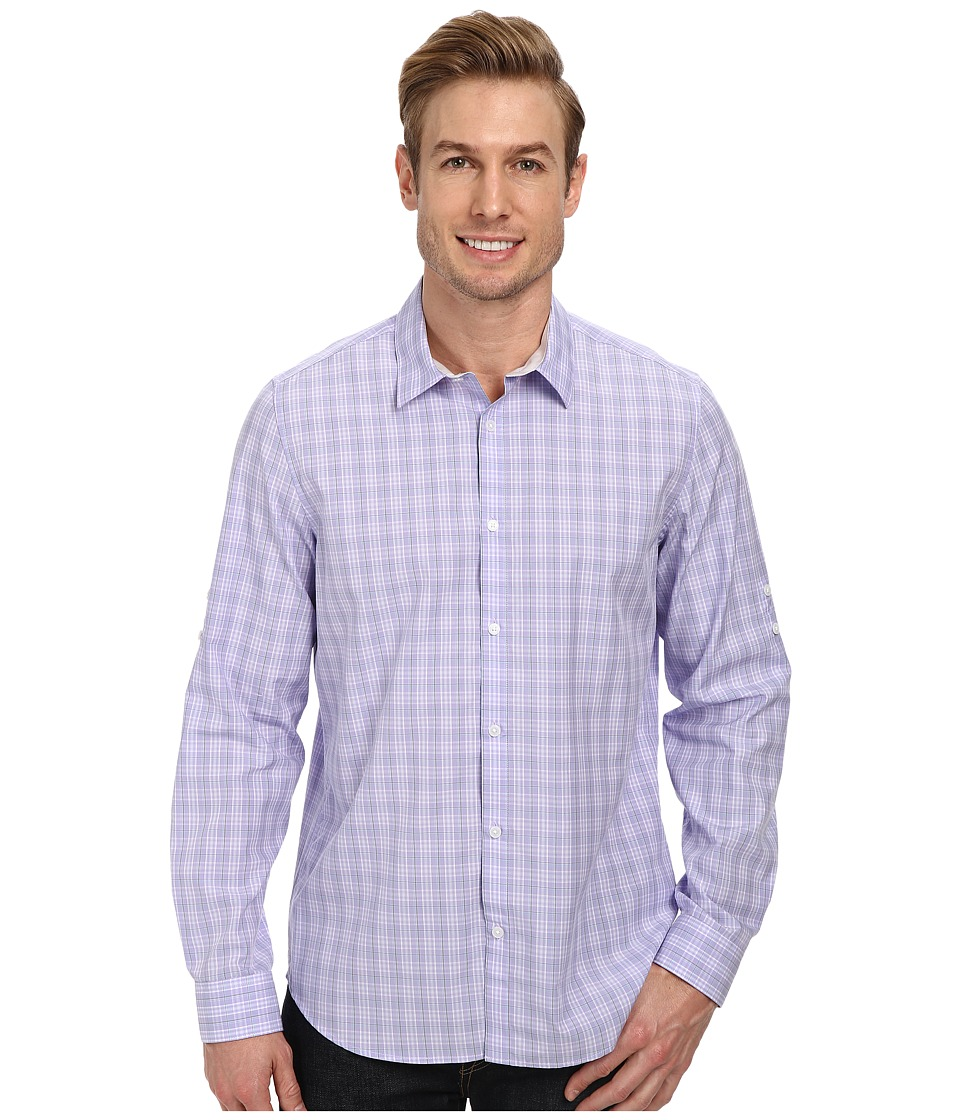Calvin Klein - End on End Ombre Check Roll-Sleeve Woven Shirt (Blue Iris) Men's Clothing