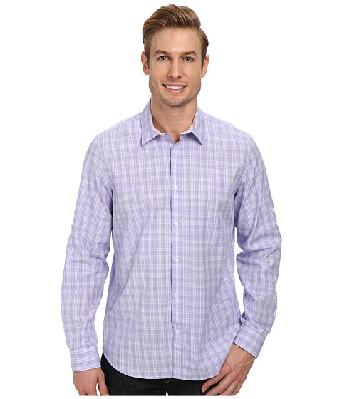 Calvin Klein - End on End Ombre Check Roll-Sleeve Woven Shirt (Blue Iris) Men