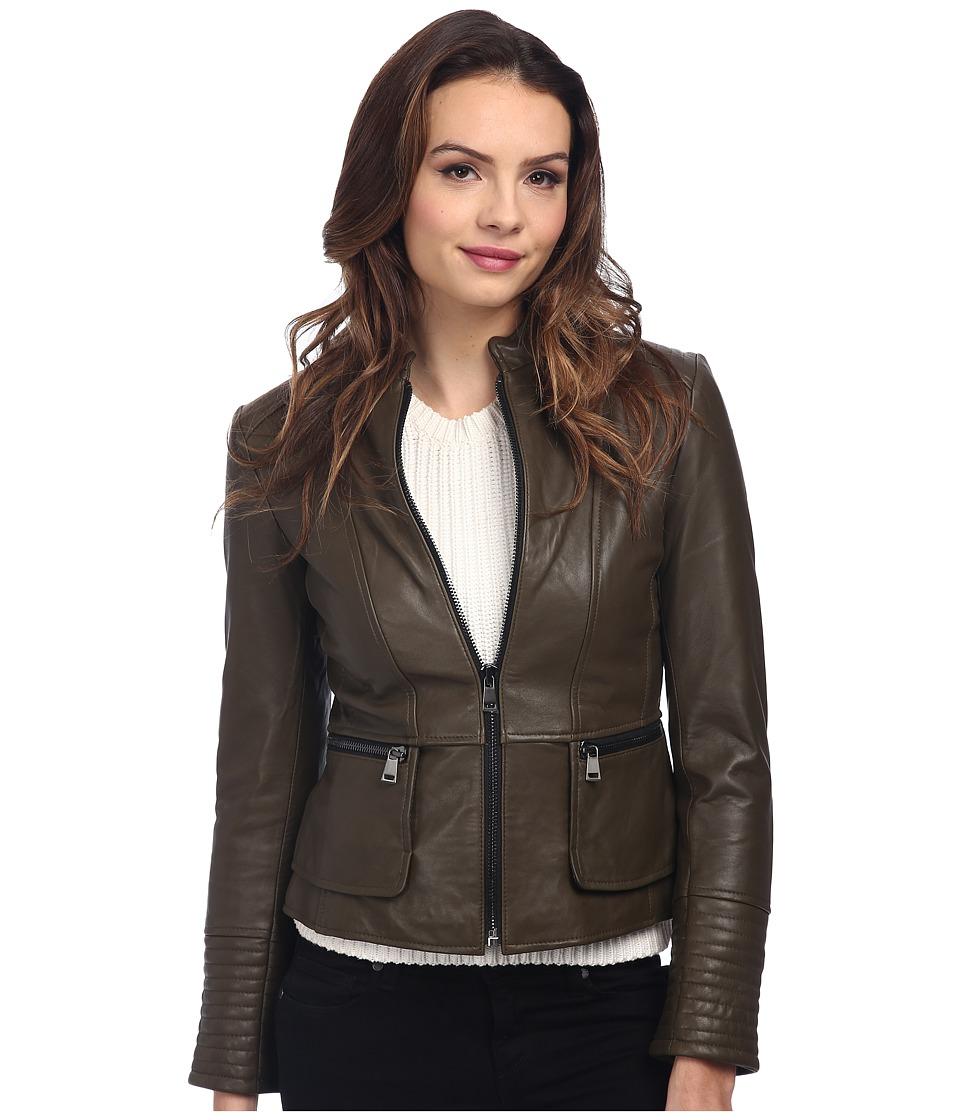 Nicole Miller - Zip Front Peplum Coat (Olive) Women's Coat