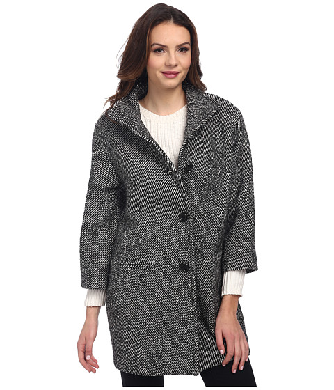 Nicole Miller - Tweed Cocoon Coat (Black/Off White) Women