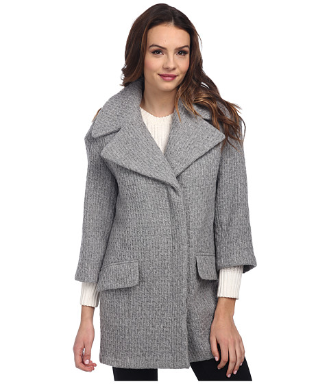 Nicole Miller - Textured Cocoon Coat (Light Grey) Women's Coat
