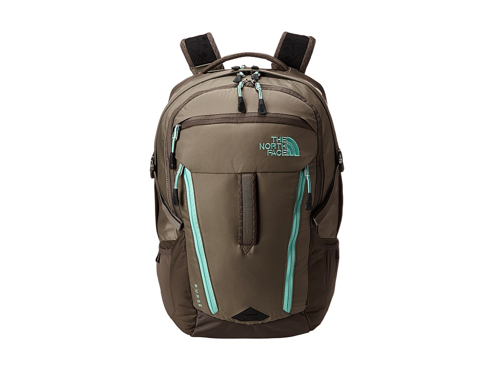 The North Face - Women's Surge (Brindle Brown/Surf Green) Backpack Bags