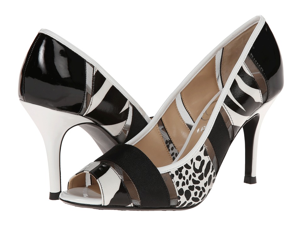 J. Renee - Jemma (Black/White Zebra) Women's Toe Open Shoes