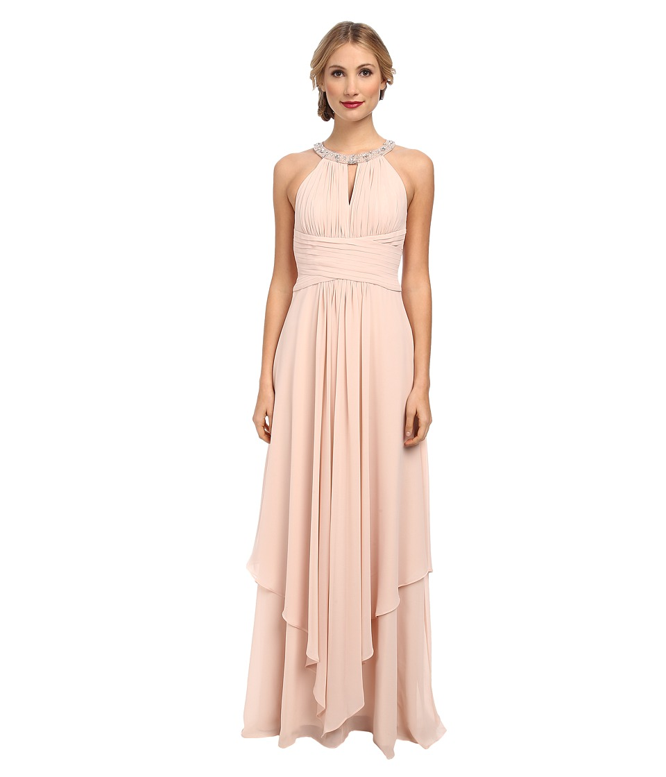 Donna Morgan - Siena Beaded Halter Long Gown (Chantilly) Women's Dress
