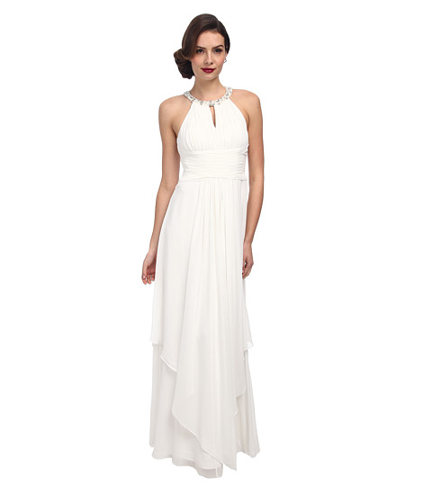 Donna Morgan - Siena Beaded Halter Long Gown (White Lily) Women's Dress