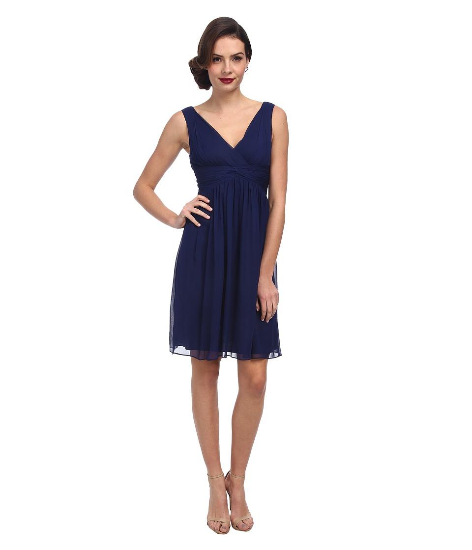 Donna Morgan Jessie Short Chiffon Bra Friendly Midnight Dress