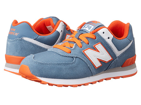 New Balance Kids - KL574 (Little Kid) (Chambray/Orange) Boys Shoes