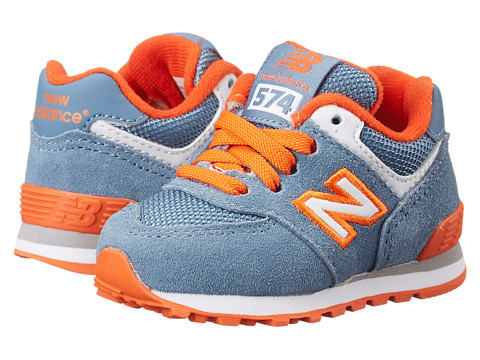 New Balance Kids - KL574 (Infant/Toddler) (Chambray/Orange) Boys Shoes
