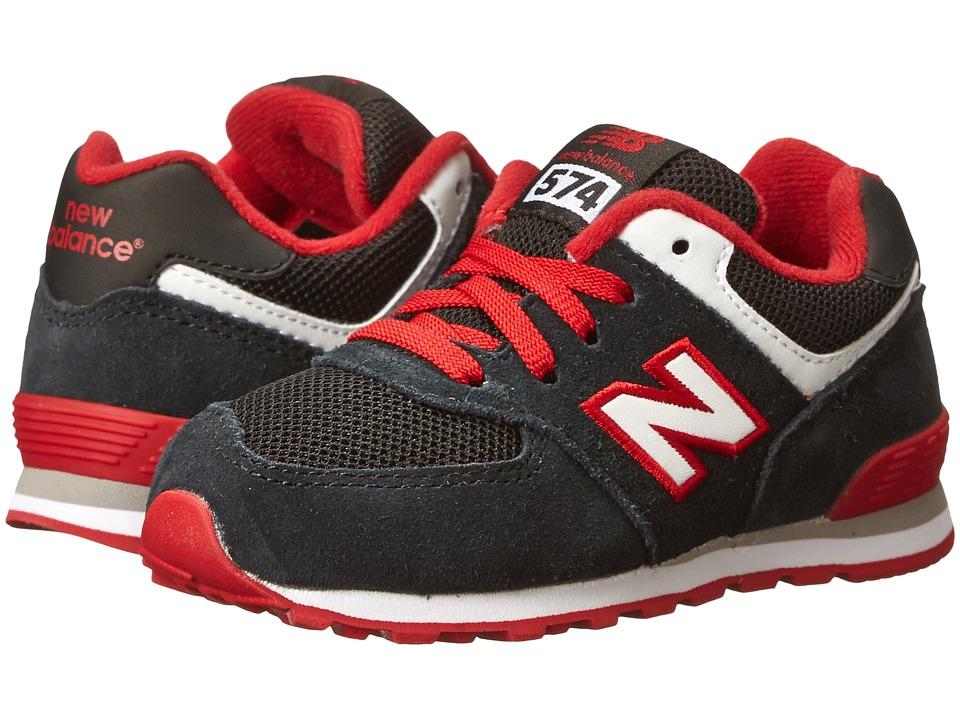 New Balance Kids - KL574 (Infant/Toddler) (Black/Red) Boys Shoes