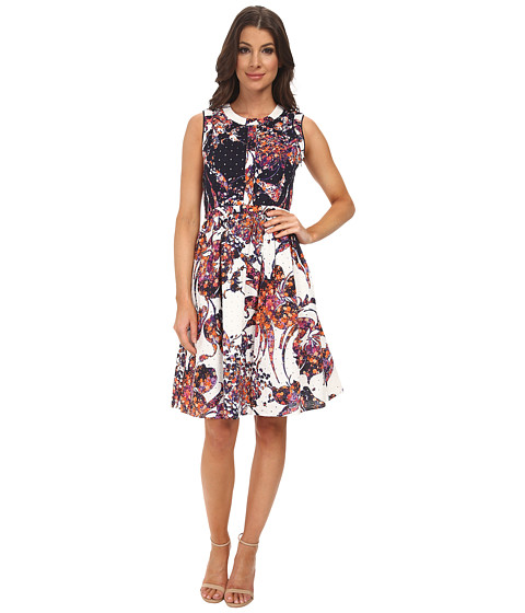 Adrianna Papell - Printed Eyelet Shirt Dress (Navy/Ivory) Women's Dress