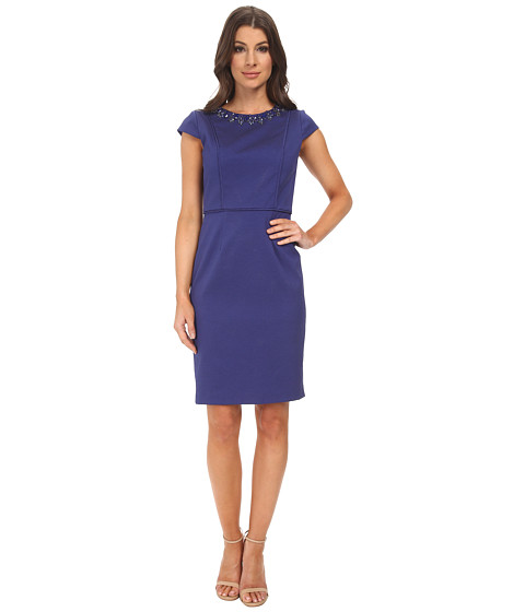 Adrianna Papell - Beaded Front Sheath Dress (Deep Blue) Women's Dress
