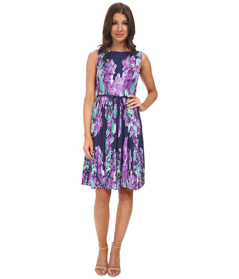 Adrianna Papell - Floral Print Pleated Dress (Navy Multi) Women's Dress