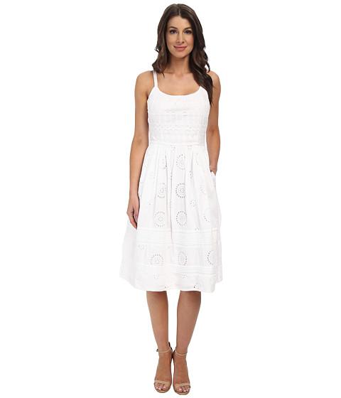 Adrianna Papell - Eyelet Spaghetti Strap Sundress (White) Women