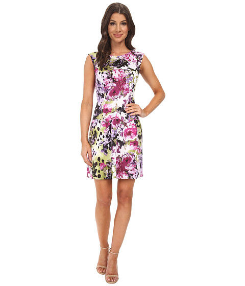 Adrianna Papell - Drop Waist Scalloped Flounce Dress (Purple Multi) Women's Dress