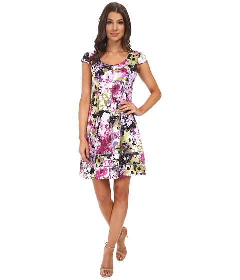 Adrianna Papell - Skater Fit Flare Scuba Dress (Purple Multi) Women's Dress