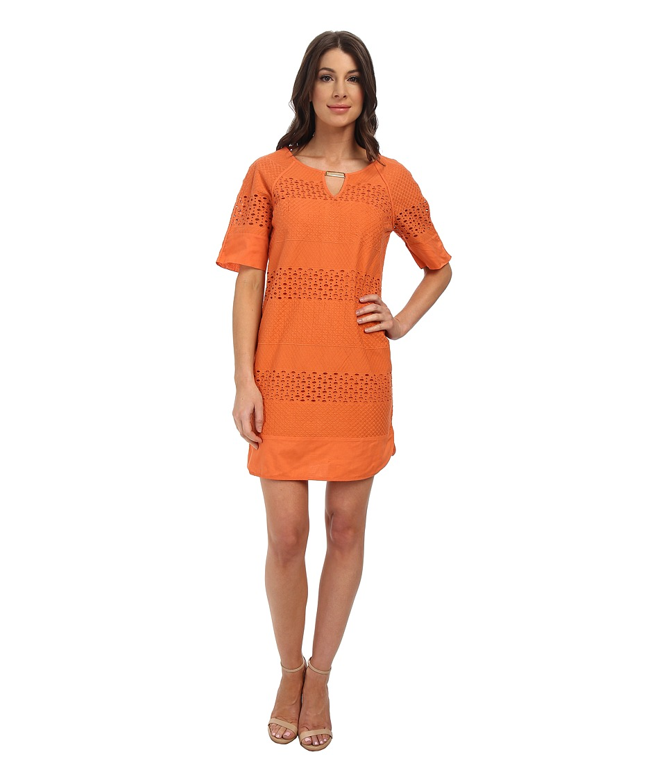 Adrianna Papell - Eyelet Swing Dress (Tangerine) Women