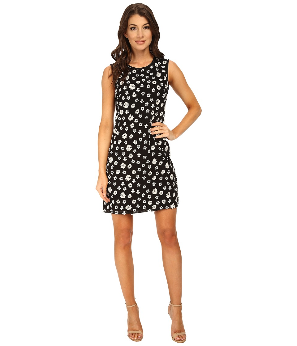 Adrianna Papell - Embroidered Floral Chiffon Shift Dress (Black/Ivory) Women
