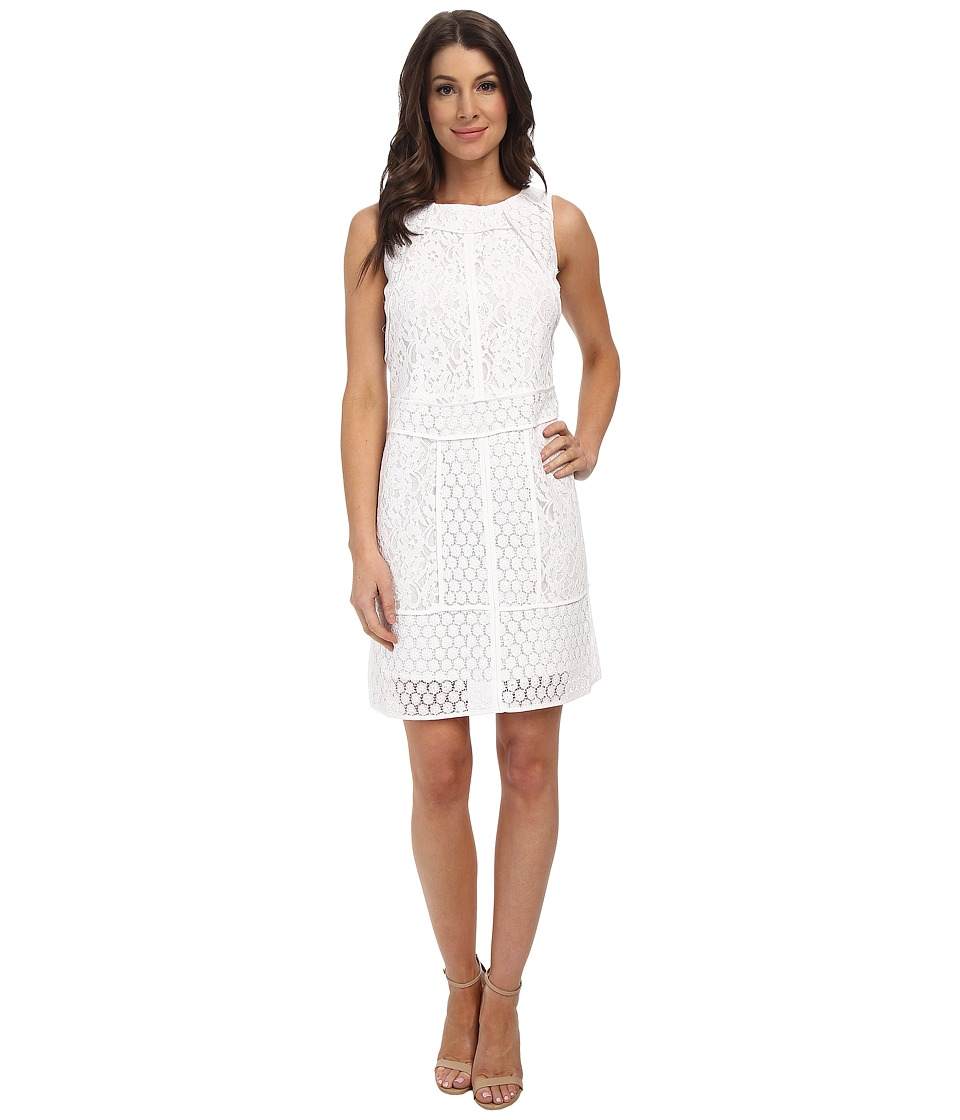 Adrianna Papell - Lace Combo A-Line Dress (White) Women's Dress