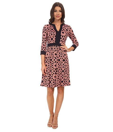 Adrianna Papell - Scoop Neck 3/4 Sleeve Print (Navy Multi) Women's Dress