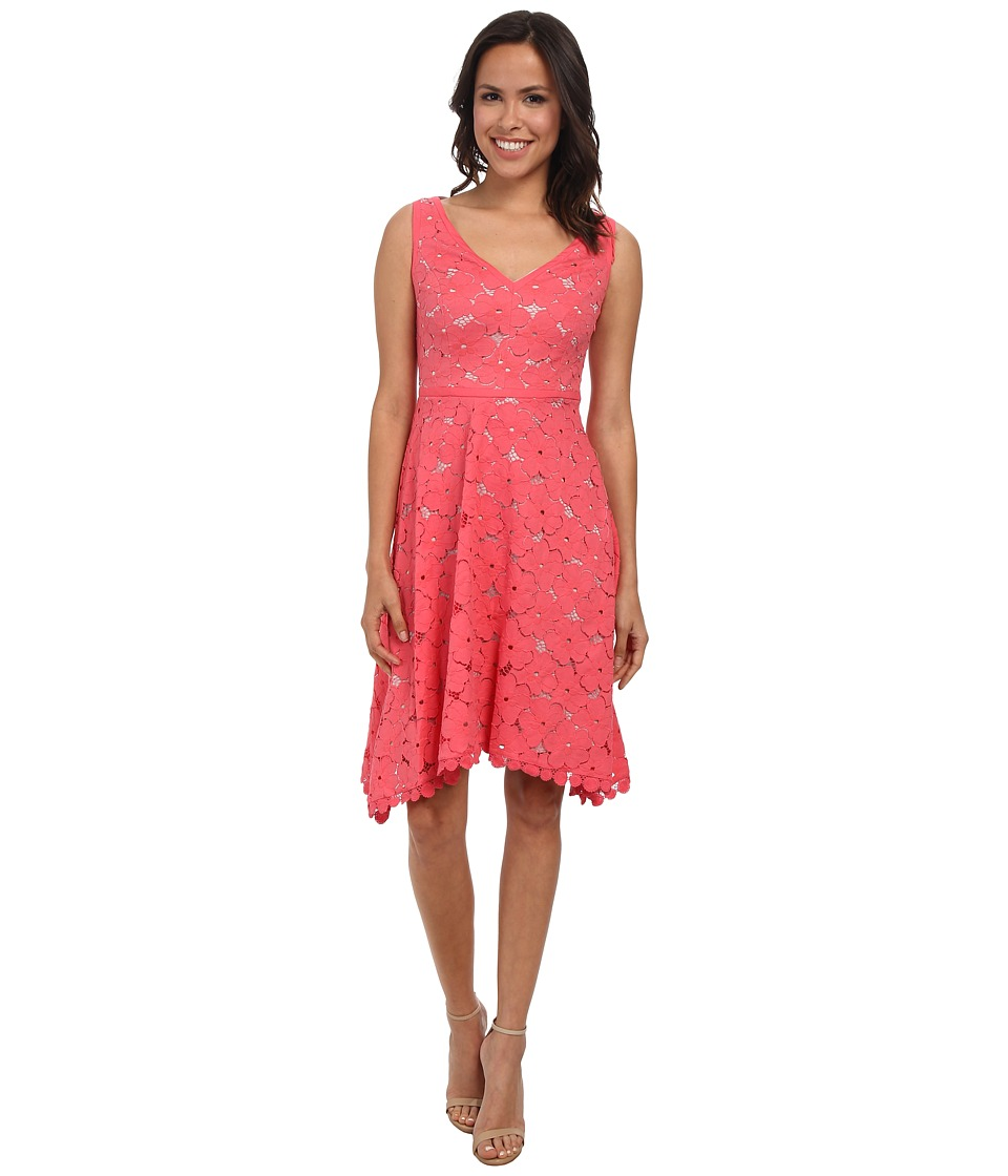 Adrianna Papell - V-Neck Pleated Fit Flare (Coral) Women
